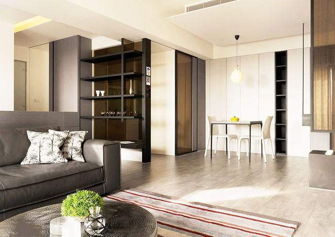 整洁的现代简约风格80平米公寓客厅吊顶装修效果图