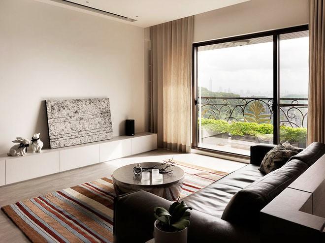 整洁的现代简约风格80平米公寓客厅窗户装修效果图