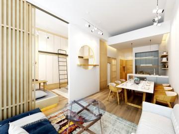 怡然自得的日式风格40平米一居室装修效果图