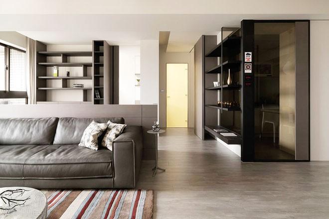 整洁的现代简约风格80平米公寓客厅背景墙装修效果图