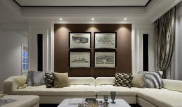 黑白时尚美式风格80平米一居室装修效果图