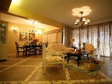 浪漫碎花田园风格120平米三居室装修效果图