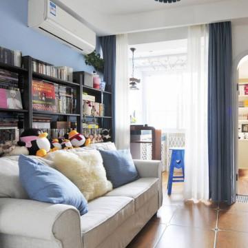 小清新的地中海风格60平米二居室装修效果图