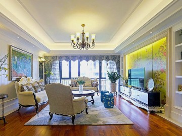 时尚休闲的田园风格120平米三居室装修效果图