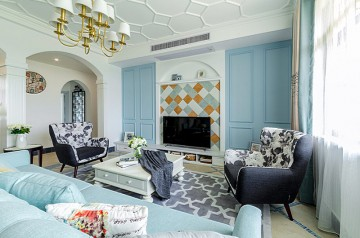 蓝色世界地中海风格130平米四居室装修效果图