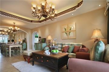纯净幽雅的田园风格100平米二居室装修效果图