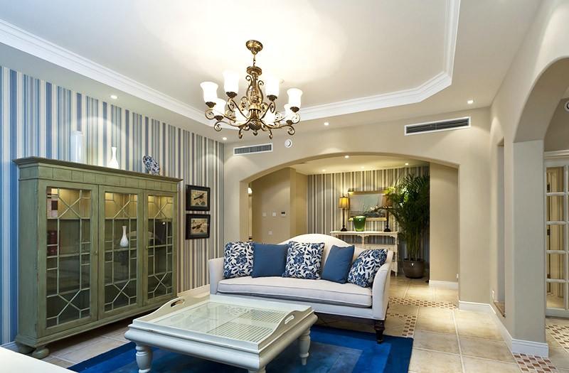 清新舒适的田园风格150平米别墅客厅吊顶装修效果图