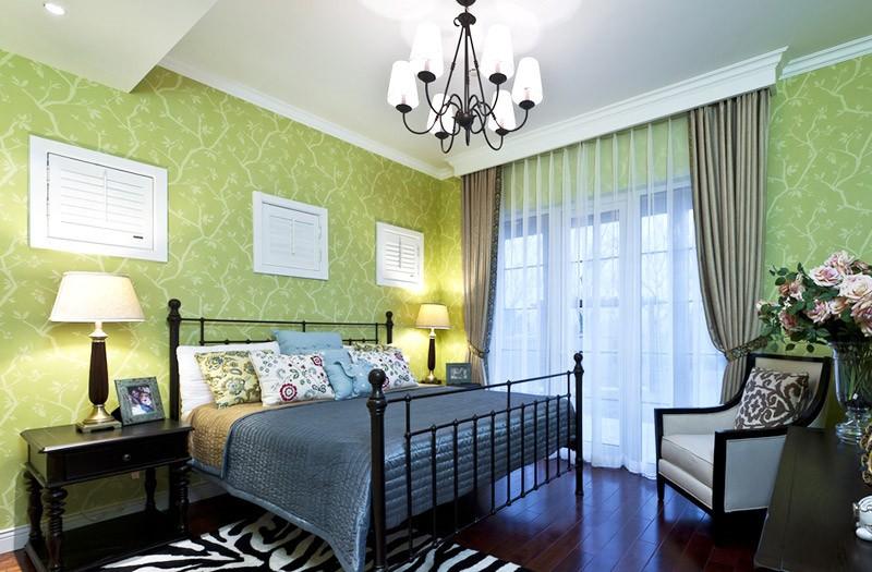 清新舒适的田园风格150平米别墅卧室窗帘装修效果图