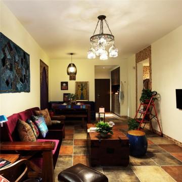 七彩东南亚风格90平米三居室装修效果图