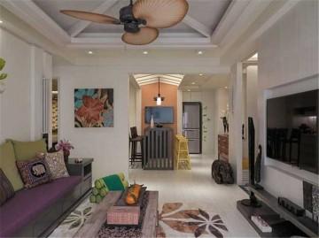 创意的东南亚风格110平米二居室装修效果图