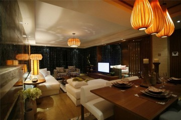 静谧稳重的东南亚风格100平米三居室装修效果图