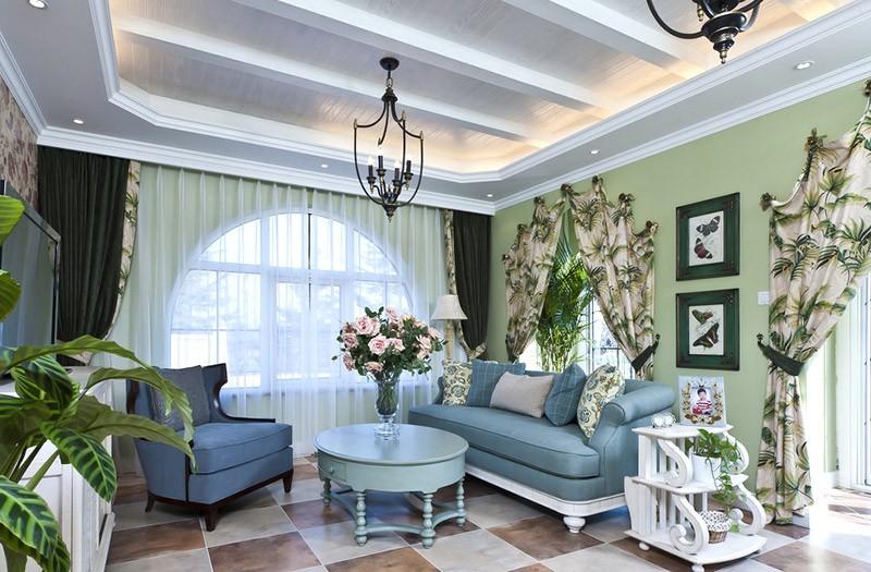 清新舒适的田园风格150平米别墅客厅装修效果图