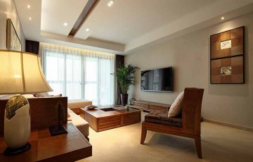 和谐舒适的东南亚风格100平米三居室装修效果图