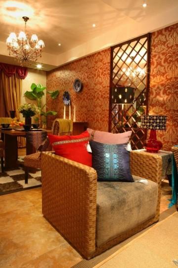 色彩靓丽的东南亚风格80平米二居室装修效果图