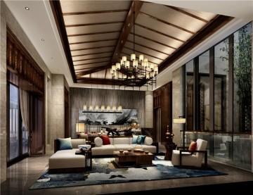 复古的东南亚风格200平米别墅装修效果图