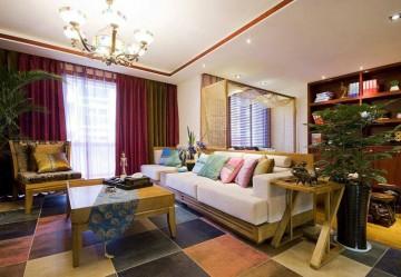 自然清新的东南亚风格90平米二居室装修效果图