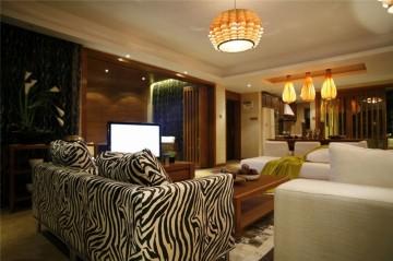 稳重咖系东南亚风格100平米三居室装修效果图