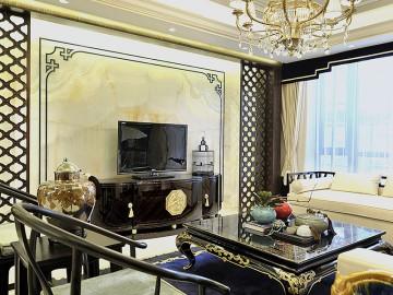 现代华丽新中式风格140平米四居室装修效果图