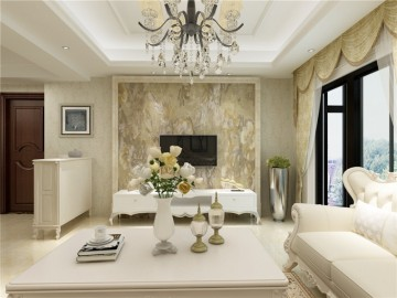大气优雅的欧式风格三居室装修效果图