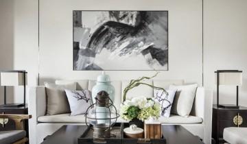 水墨山色中式风格80平米二居室装修效果图
