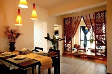 唯美静谧中式风格90平米二居室装修效果图