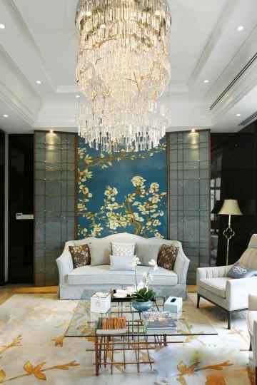 优雅清新中式风格220平米别墅装修效果图