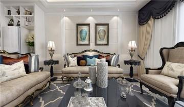简约大气的欧式风格三居室装修效果图