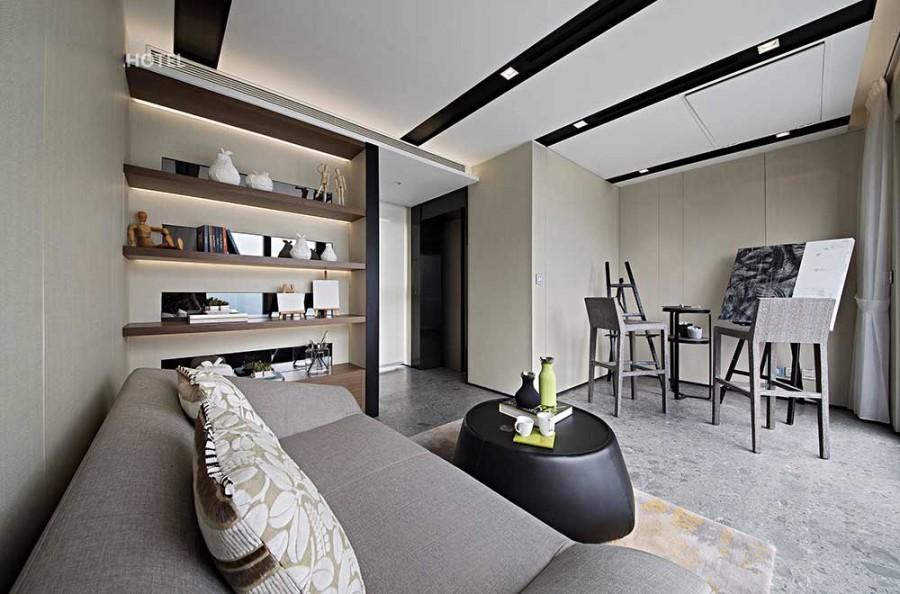 低调典雅现代简约风格200平米别墅书房吊顶装修效果图