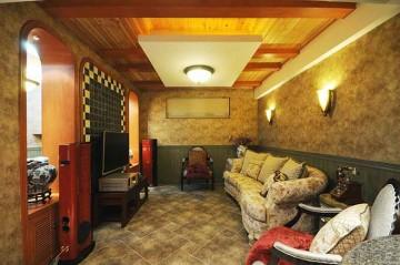 橙色实木新古典风格110平米复式loft装修效果图