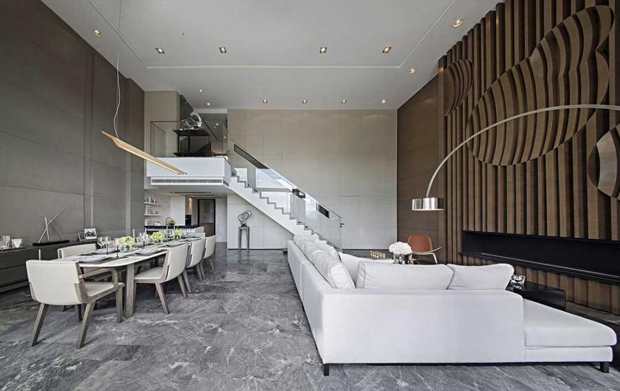 低调典雅现代简约风格200平米别墅客厅吊顶装修效果图