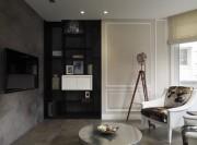 经典黑白灰现代简约风格200平米别墅书房背景墙装修效果图