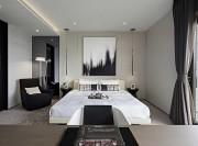 低调典雅现代简约风格200平米别墅卧室背景墙装修效果图