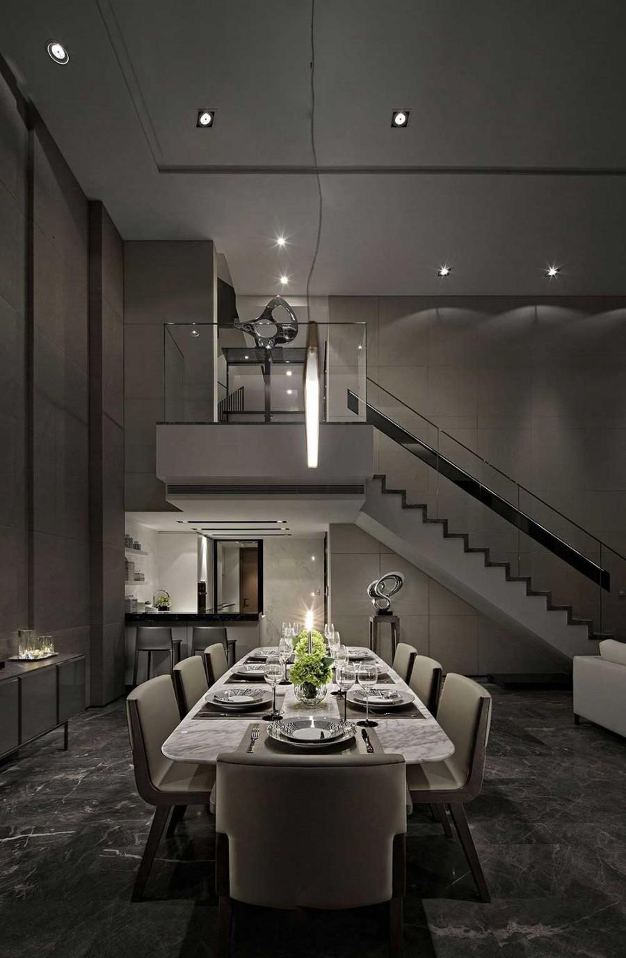 低调典雅现代简约风格200平米别墅餐厅吊顶装修效果图