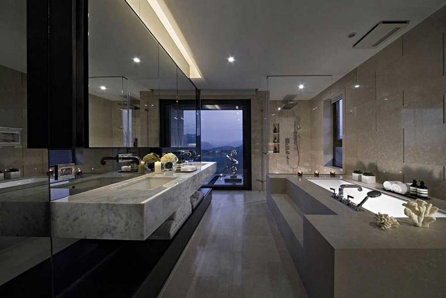低调典雅现代简约风格200平米别墅卫生间浴室柜装修效果图