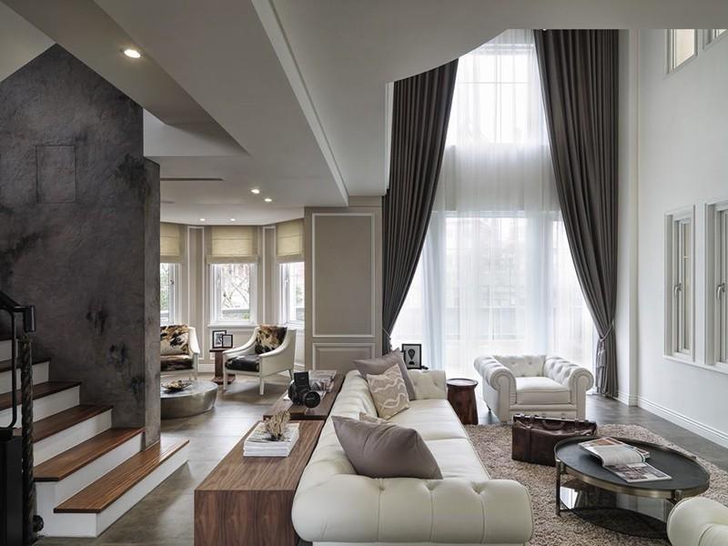 经典黑白灰现代简约风格200平米别墅装修效果图