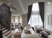 经典黑白灰现代简约风格200平米别墅客厅窗帘装修效果图