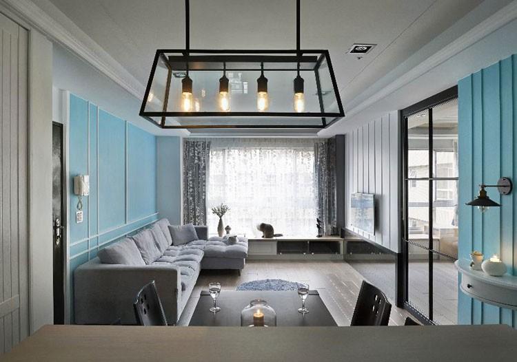 水蓝现代简约风格100平米三居室装修效果图