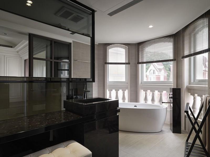 经典黑白灰现代简约风格200平米别墅卫生间浴室柜装修效果图