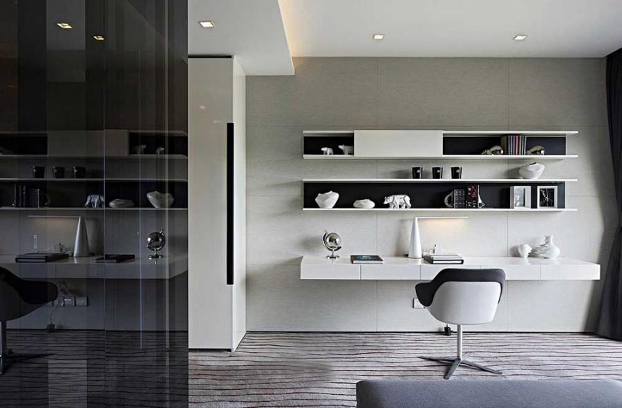低调典雅现代简约风格200平米别墅书房背景墙装修效果图