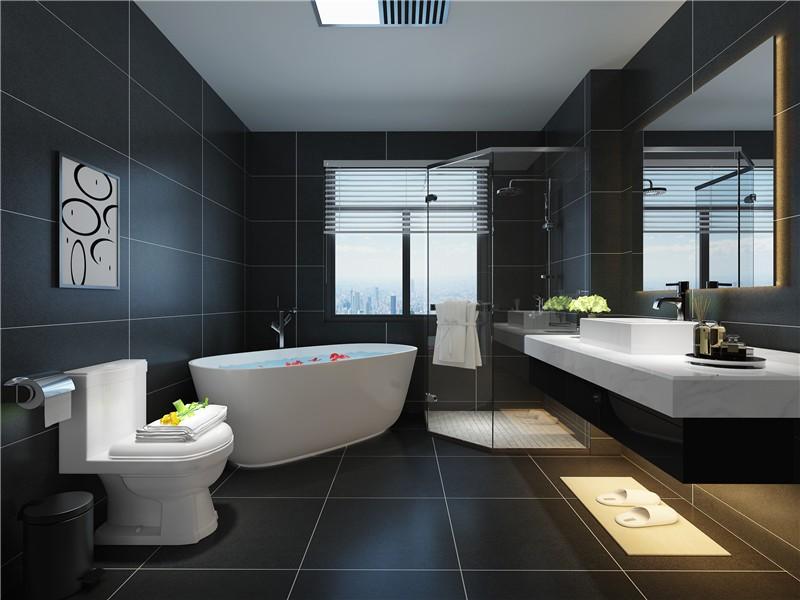 大气简约现代300平复式卫生间背景墙装修效果图