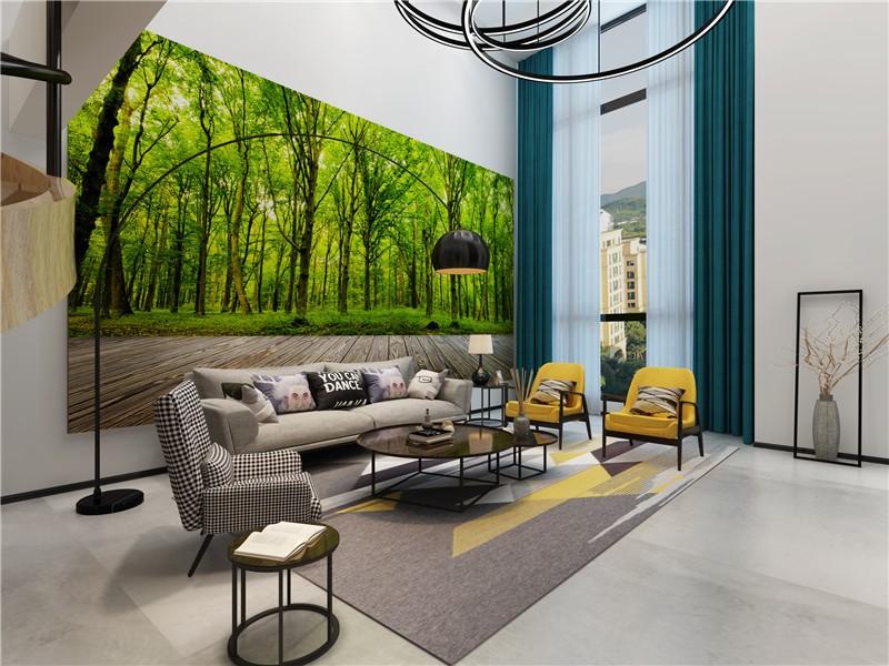 大气简约现代300平复式客厅背景墙装修效果图