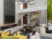 大气简约现代300平复式客厅电视背景墙装修效果图