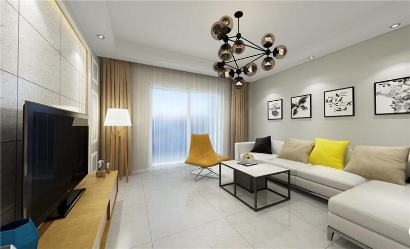 宁静质朴现代80平二居室装修效果图