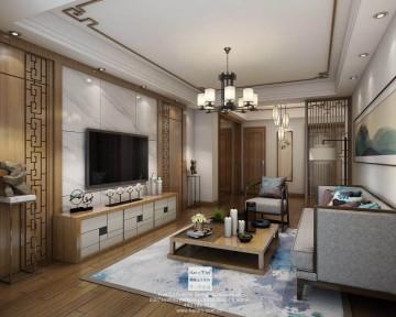 奥林清华新中式三居室装修效果图