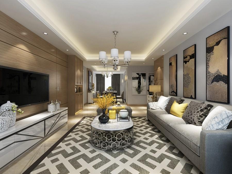 保利居上现代简约三居室装修效果图