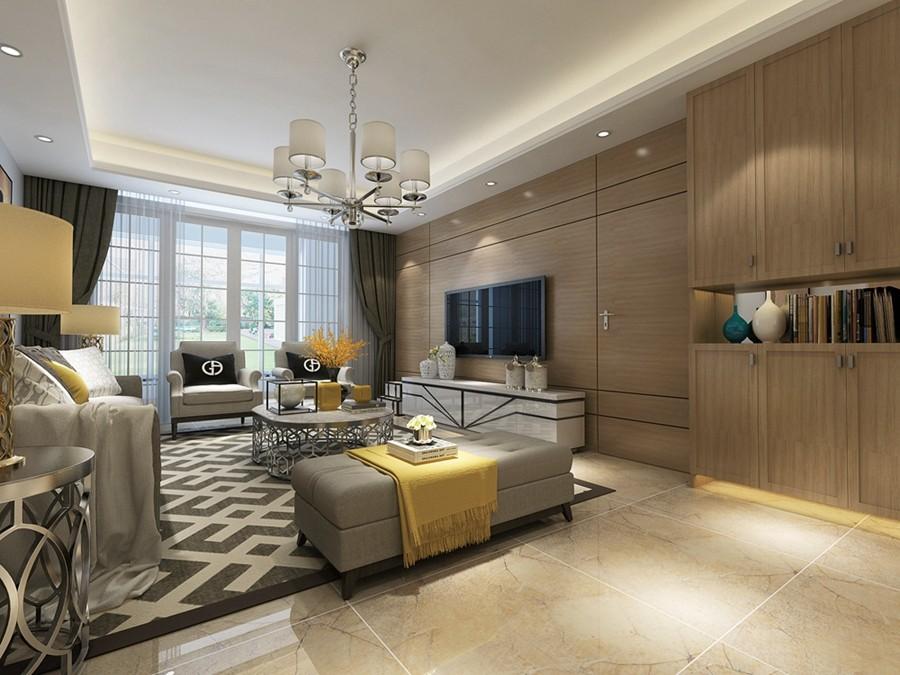 保利居上现代简约三居室客厅装修效果图