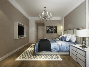 保利居上现代简约三居室卧室装修效果图