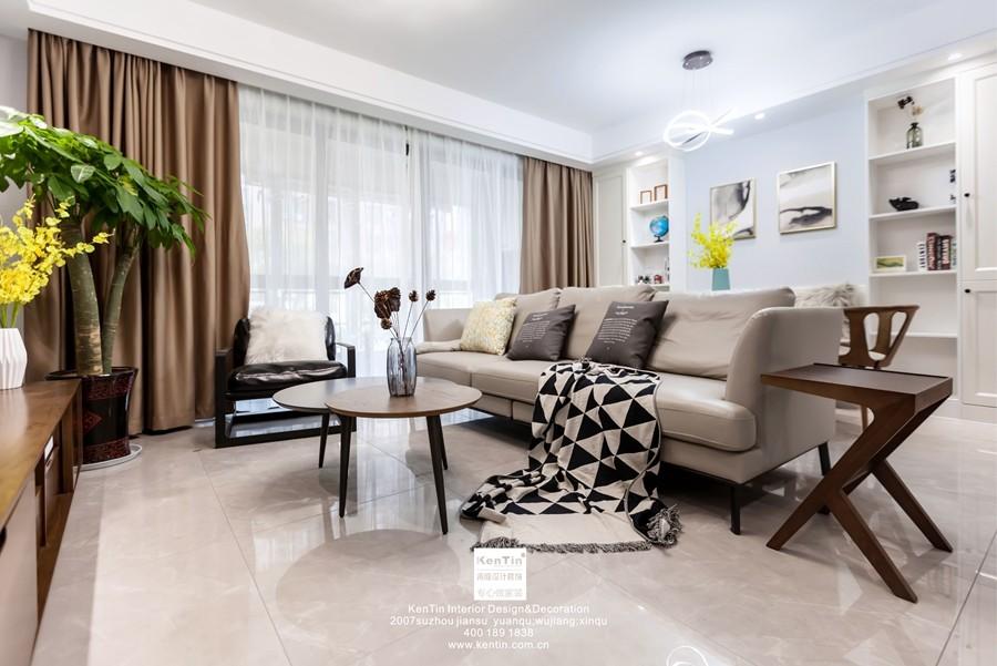荷澜庭现代简约三居室装修实景案例