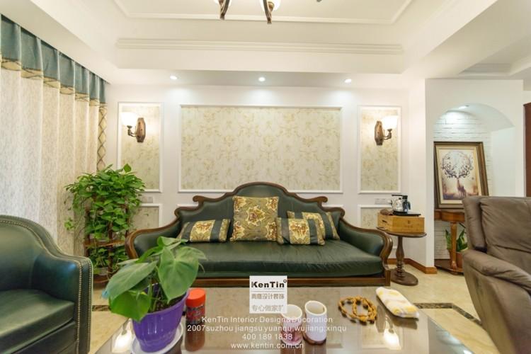 华润凯旋门美式风格三居室装修实景案例
