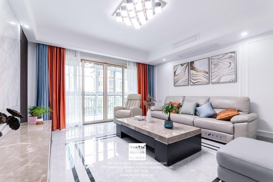 南山维拉现代简约二居室客厅装修实景案例